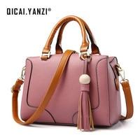 QICAI YANZI Women Double Handle Zippers Totes 2017 Ladies Stylish Bead Tassel Handbags Crossbody Bags Mujer