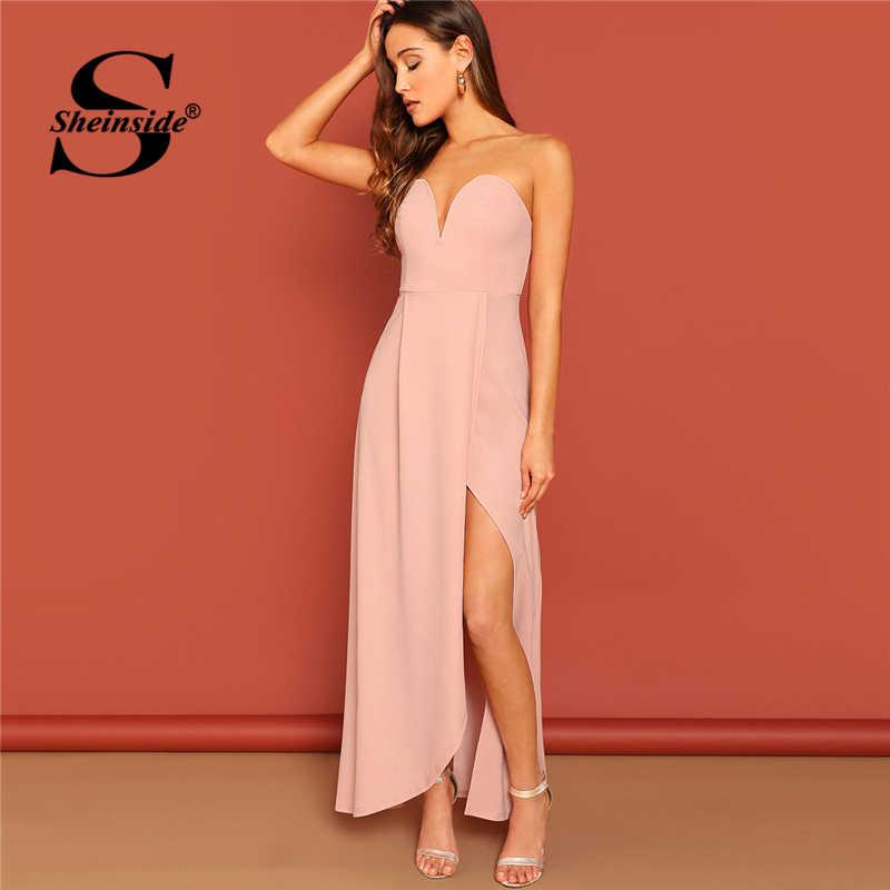 ba50df7ea7 Sheinside Pink Zip Back Slit Hem Strapless Maxi Dress Women Sleeveless Sexy  Party Dresses Ladies Off