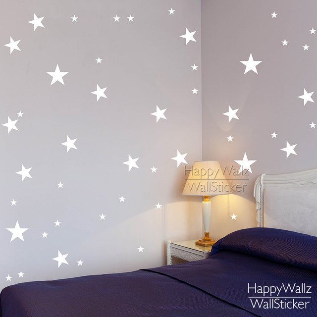 Beautiful Stars Wall Stickers Baby Nursery Stars Wall Decals Kids Room DIY Easy Wall  Sticker DIY Children Wall Decors 522P