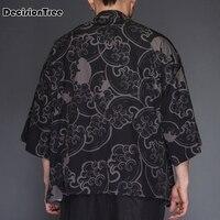 2019 summer Japan Style Kimono Jacket Men Loose Mens Jackets Plus Size 3/4 Sleeve Open Stitch Casual Coat Male Windbreaker