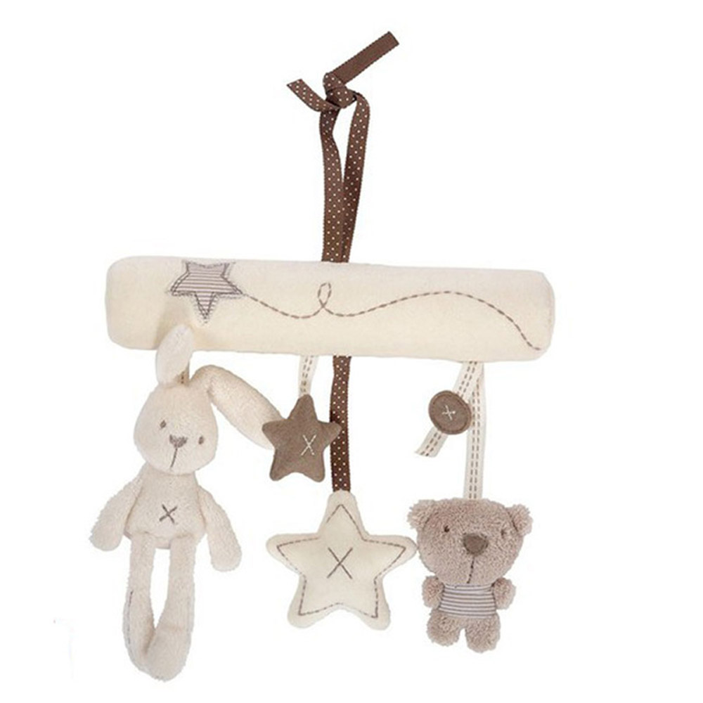 Cute Rabbit Baby Music Hanging Bed Safety Seat Plush Toy Infants Cradle Hand Bell Multifunctional Plush Toys I0067