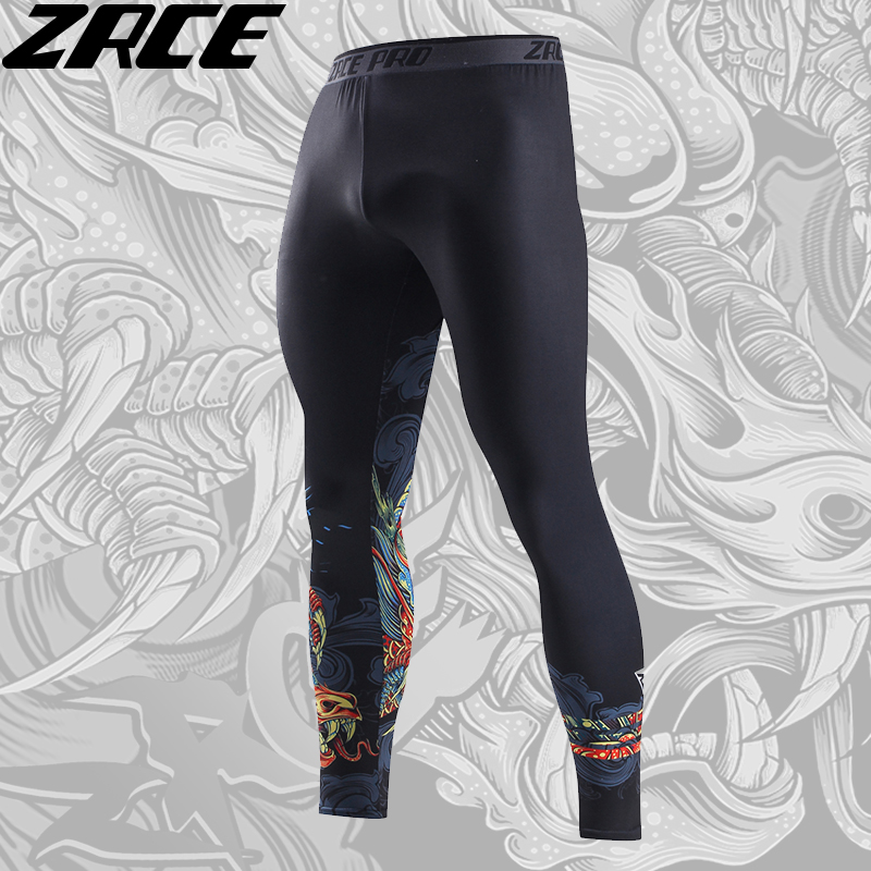 ZRCE Compression Pants 3d Printed Chinese Dragon Pattern Skinny Tights Men Sweatpants Fitness Trousers Polyester Mid Full Length