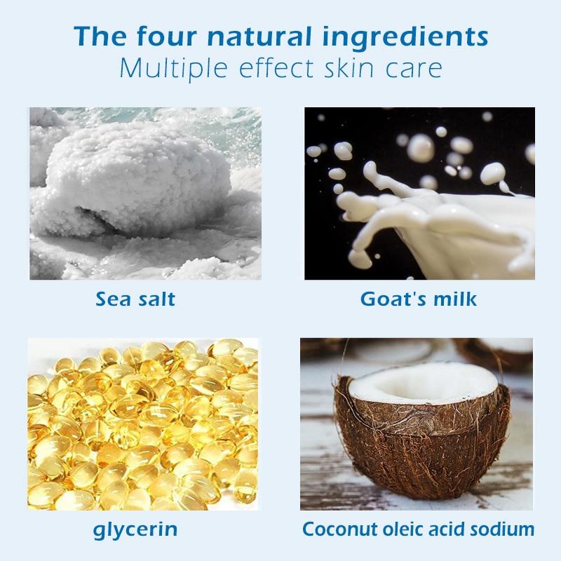 100 г козье молоко морская соль мыло Удаление прыщей поры, акне увлажняющее мыло для лица Отбеливающее Мыло Уход за кожей TSLM2