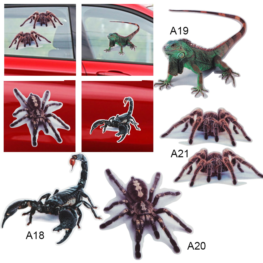 3D Car Sticker Spider Lizard Scorpions Bumper Retrofit Stickers  Simulation Animals Auto Decals Car Styling Стикер