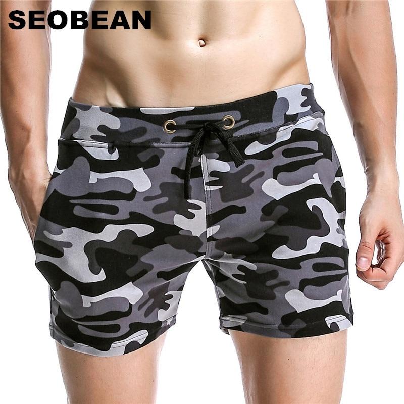 SEOBEAN التمويه السراويل الرجال عارضة السراويل اللياقة البدنية الرجال برمودا القطن عداء ببطء Sweatpants