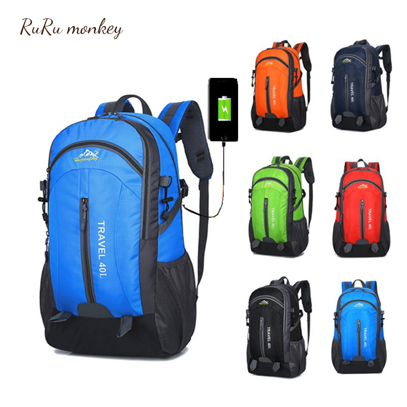 RURU singe USB sac à dos charge sac à dos 36L sac de sport de plein air voyage sac à dos Camping randonnée femmes Trekking BagU306