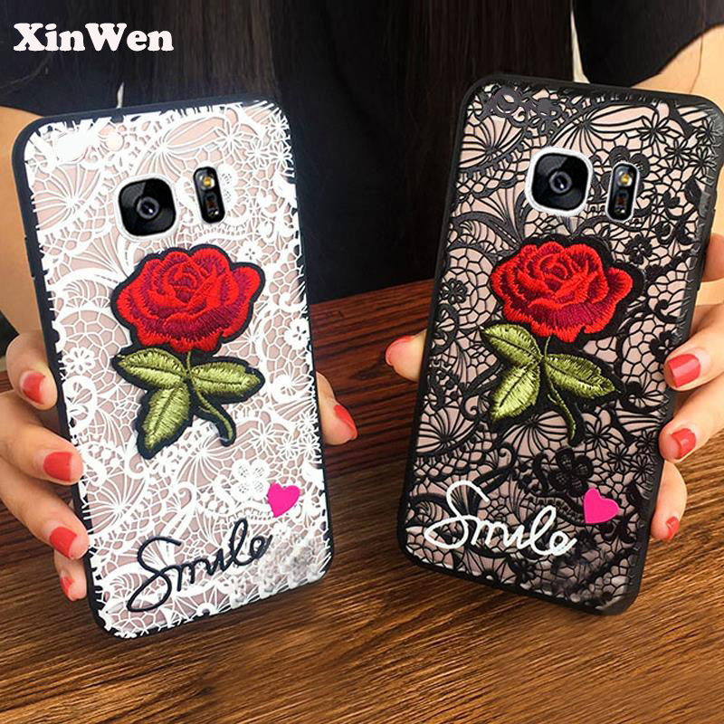 XinWen luxury original 3d cute Fashion Rose Flower hard PC Phone cover coque case For samsung galaxy s7 s <font><b>7</b></font> <font><b>Sexy</b></font> Woman Lace Back image
