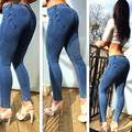 Bebang freddy Pants High Elastic Denim fabric Low Waist Shaping Sexy hip sport Fitness Tight trousers For Women jeanswear Pant