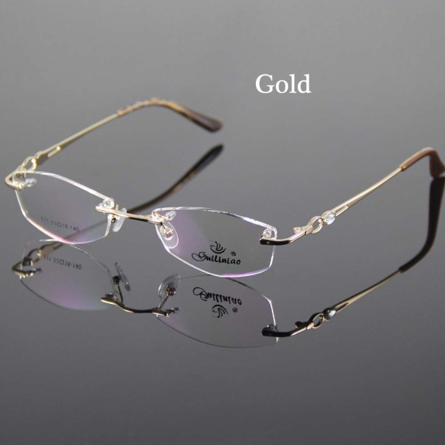 808a522707f4 2 Color Eyeglasses Frame Women Rimless Glasses Frame Women Spectacles  Optical Prescription Eyewear Frames Eyeglass Frames