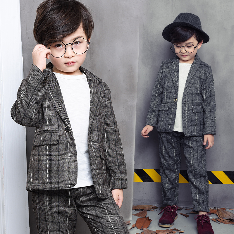 2017 Baby Boys Autumn Casual Clothing Set Baby Kids Plaid Coats Sets Outerwear + pant 2-Piece Suit Set  Long Sleeve jacket Y5-12  europe hot sale baby girls long sleeve velvet plaid top pant suit fashion childrens casual clothes princess clothing 16d1224