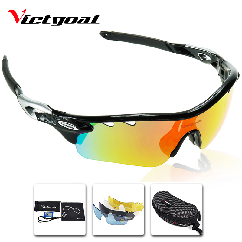 VICTGOAL Polarized Cycling Glasses UV400 Outdoor Sport Men Women Running Cycling Sunglasses Mountain Bike Eyewear 5 Lens Goggles