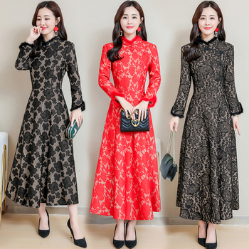 New Winter Chinese long qipao dress fur collar modern qipao red black vintage cheongsam elegant traditional Chinese clothing new red embroidery flower female modern cheongsam elegant mandarin collar chinese style dress cotton long sleeve qipao l xxl