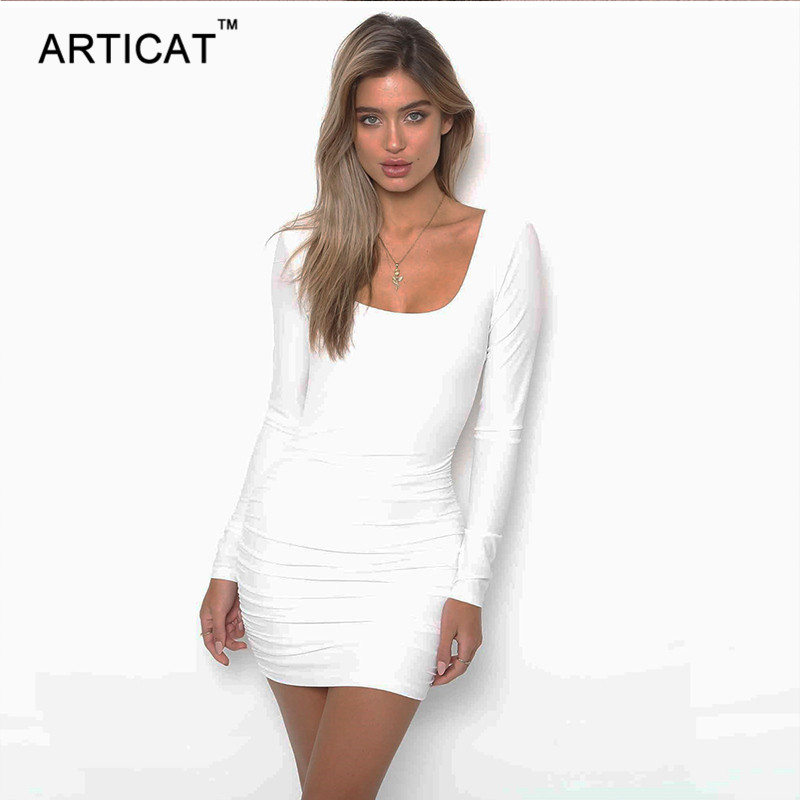 Articay Long Sleeve Stretchy Sexy Backless Dress Short Slim Pleated Bandage Pencil Mini Dress Casual Spring Women Bodycon Dress