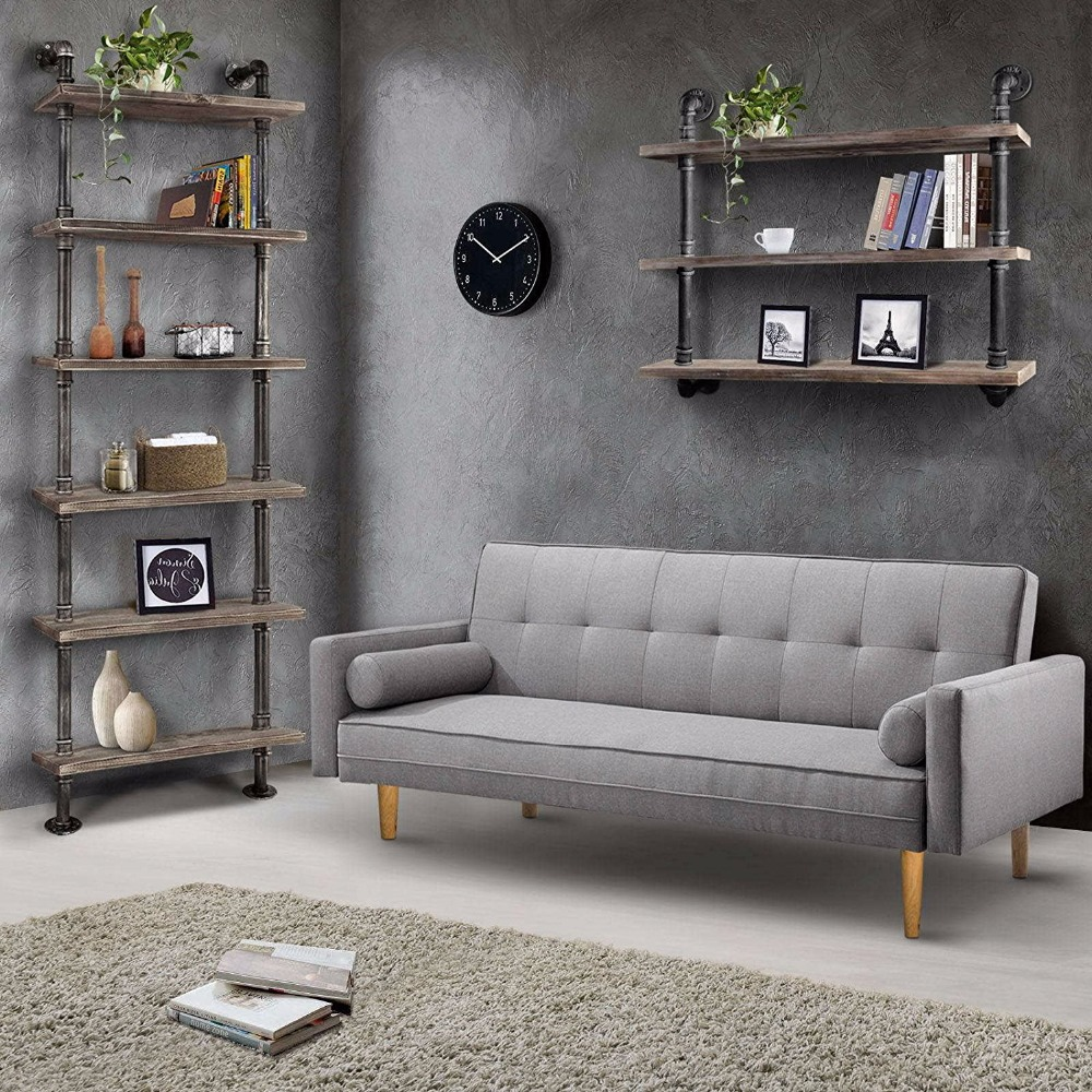 Industrial Pipe Bookcase Vintage Bookstore Standing Shelves Multi Function  6 Tier Library Storage Book Rack Home Decor Furniture In Wind Chimes U0026  Hanging ...