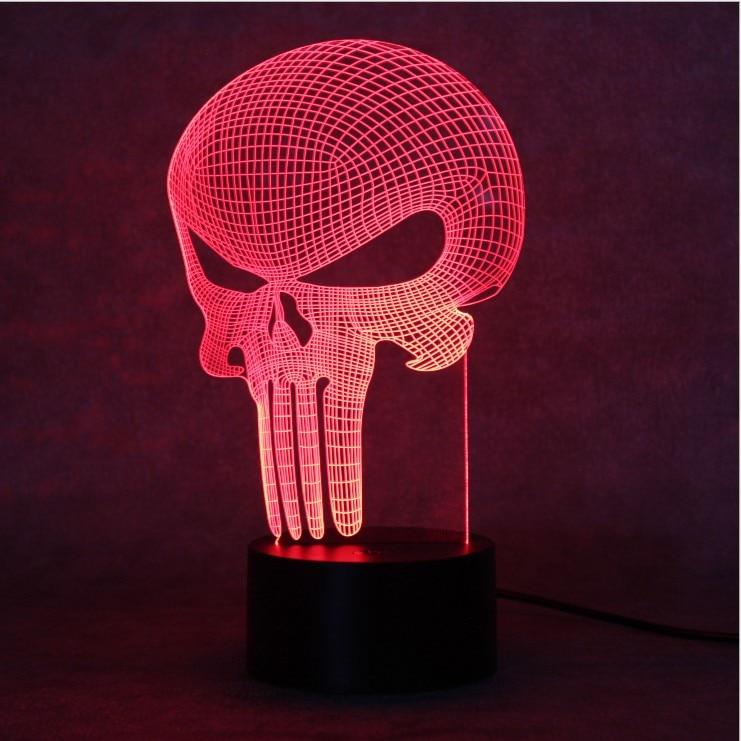 3D LED Farbwechsel Lampe Punisher Schädel bunten Licht Bulbing ...