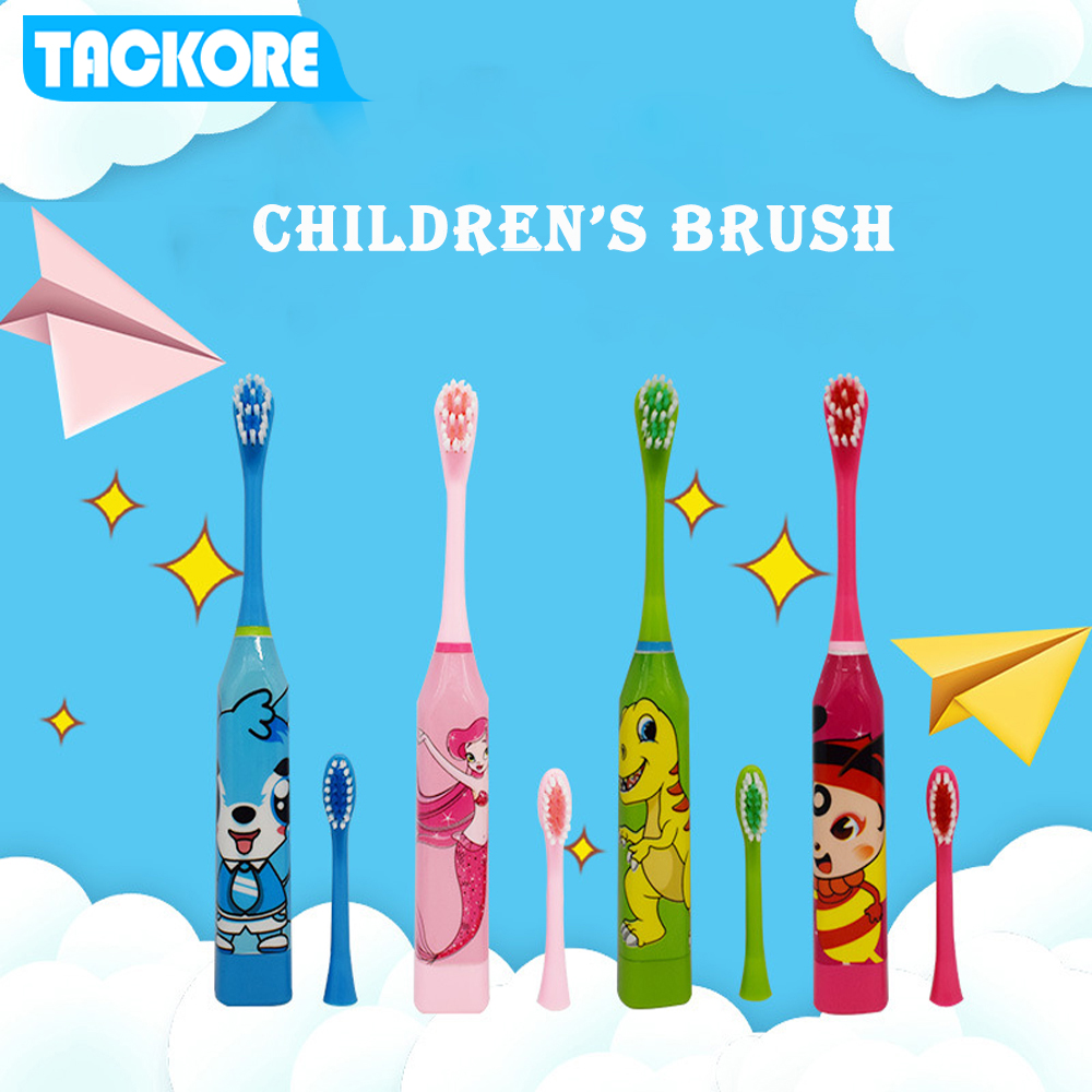 Cartoon Children Electric Toothbrush with 2 Replaceable Brush Heads Toothbrush with Battery Kids Electric Teeth Brush For Kids image
