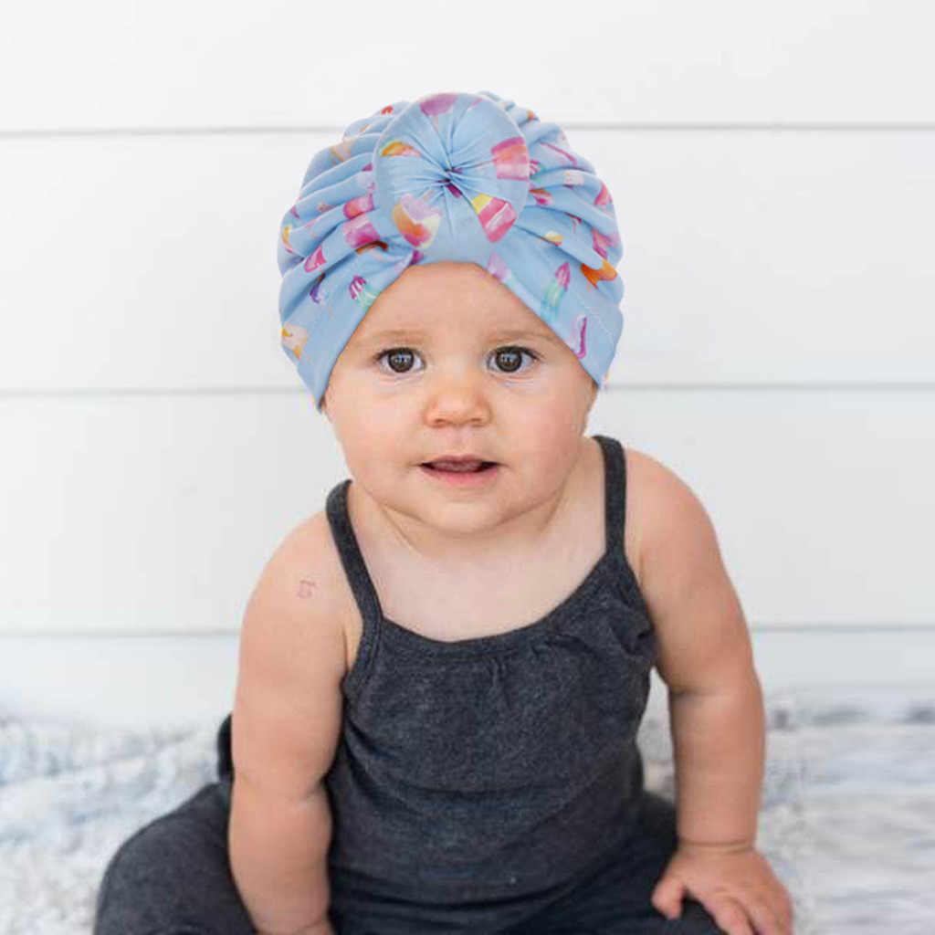 Unisex moda recién nacido bebé niñas niños impreso nudo dobladillo Beanie sombrero recién nacido modis accesorios de fotografía casquette enfant