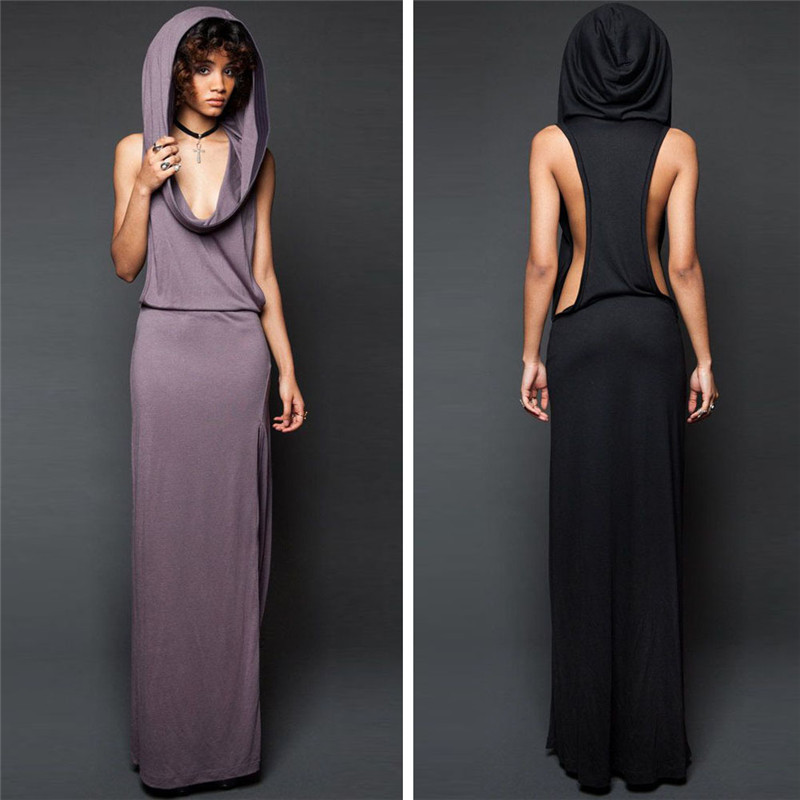 Hot Maxi Dress Femmes Nouveau Design Sexy Robes Printemps Eté Robes Solide Noir Pourpre À Capuche Sans Manches Dos Nu Split Kleid