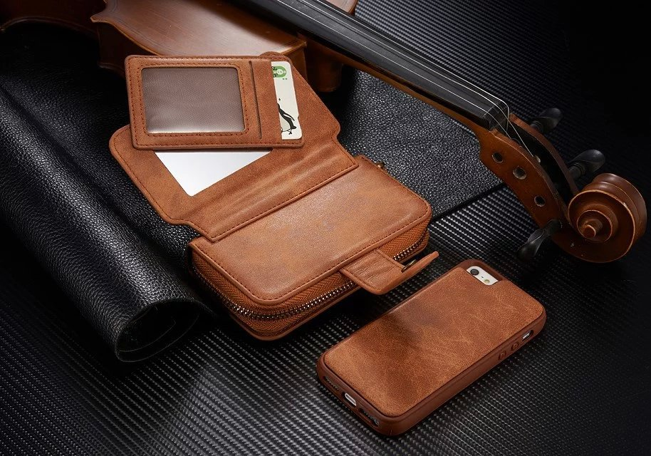 Цена за Многофункциональный 8 слота для карт pu кожа молния закрытия зеркало мешок для iphone 5s бумажник case для iphone se съемный тпу крышка