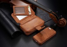 Multi Function 8 Card Slots Split Leather Zipper Closure Mirror Bag Wallet Case for iPhone 5S