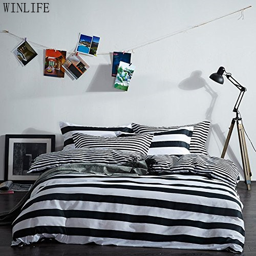 WINLIFE Black and White Duvet Cover Set 100% Cotton Black and White Stripe Bedding
