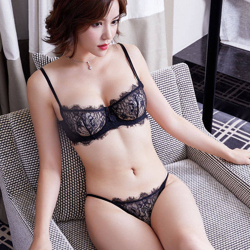 911f93fcd1 ACOUSMA Sexy Transparent Lace Bra and Panty Set Summer Ultra Thin Lingerie  Set Demi Cup Unlined Seamless G String T Back Thongs-in Bra   Brief Sets  from ...