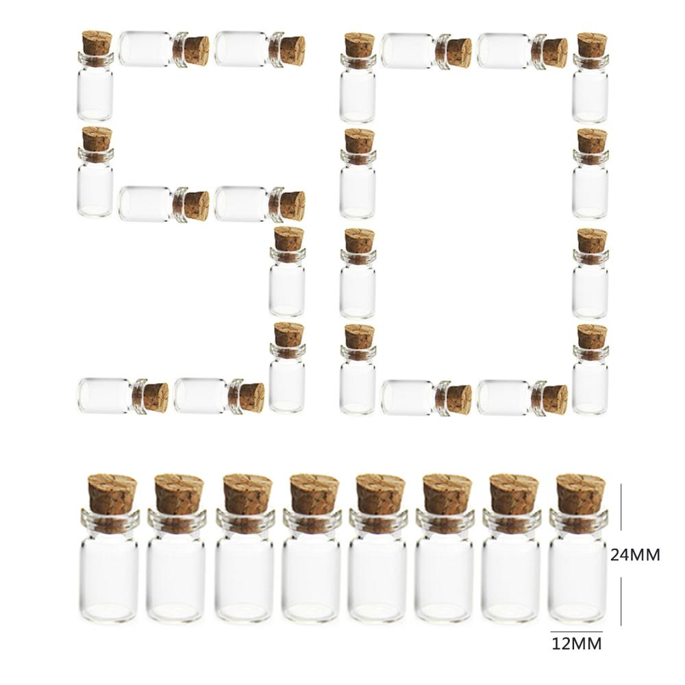 Hot 50Pcs/set 12*24MM 1.5ML Mini Glass Bottles Empty Sample Jars With Cork Stoppers For DIY Craft Decoration Sale - Transparent