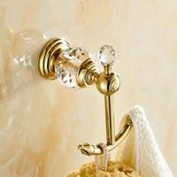 luxury crystal & brass golden robe hook bathroom hangings gold towel rack clothes hook Bathroom Accessories kitchen hanger
