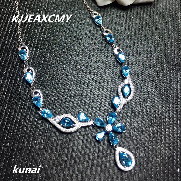 KJJEAXCMY boutique jewelry,Ladies Necklace Jewelry 925 silver inlay Natural Blue Topaz Necklace цены онлайн