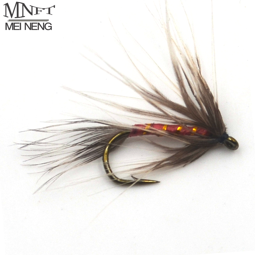MNFT 10pcs 12# golden band winding red long beard may fly trout fishing fake lures