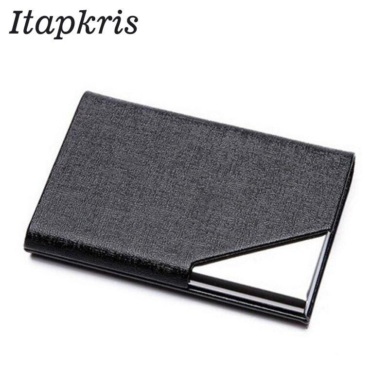 Itapkris Business ID Porte-Carte de crédit pour femmes hommes marque de mode en métal aluminium Carte Case PU Porte en cuir Carte