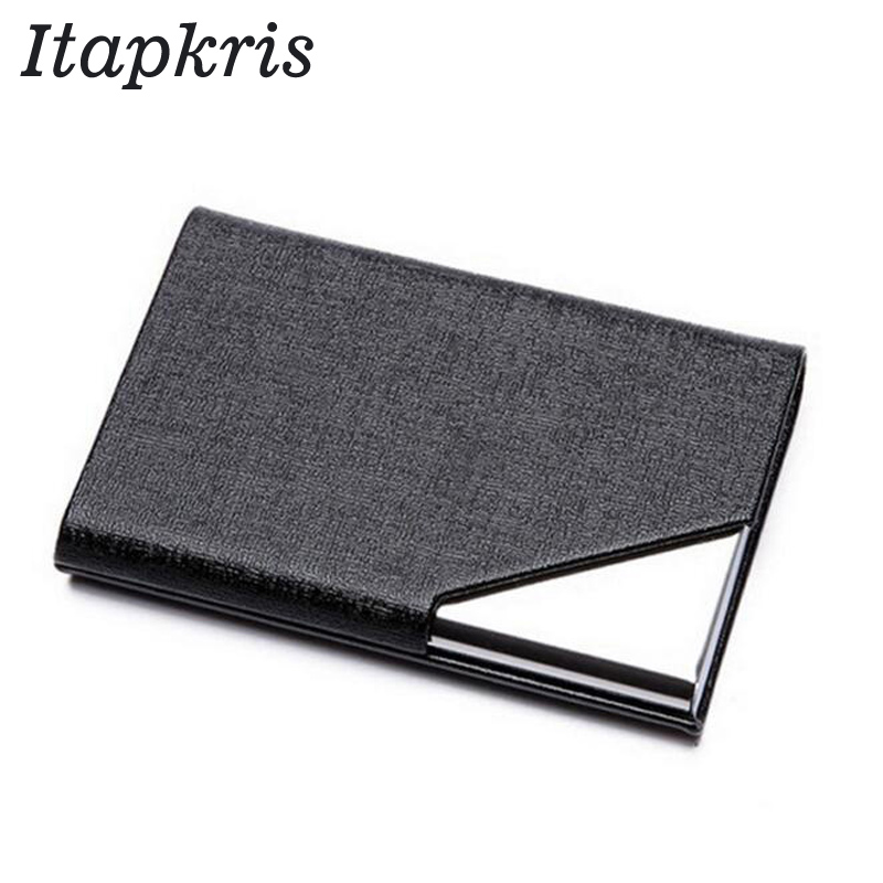 Itapkris Business ID Credit Card Holder For Women Men Fashion Brand Metal Aluminum Card Case PU Leather Porte Carte image