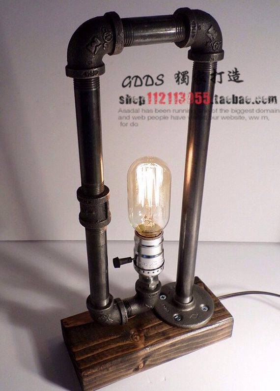 Loft Vintage Industrial Water Pipe Table Light Edison Desk Accent Wood Lamp T185