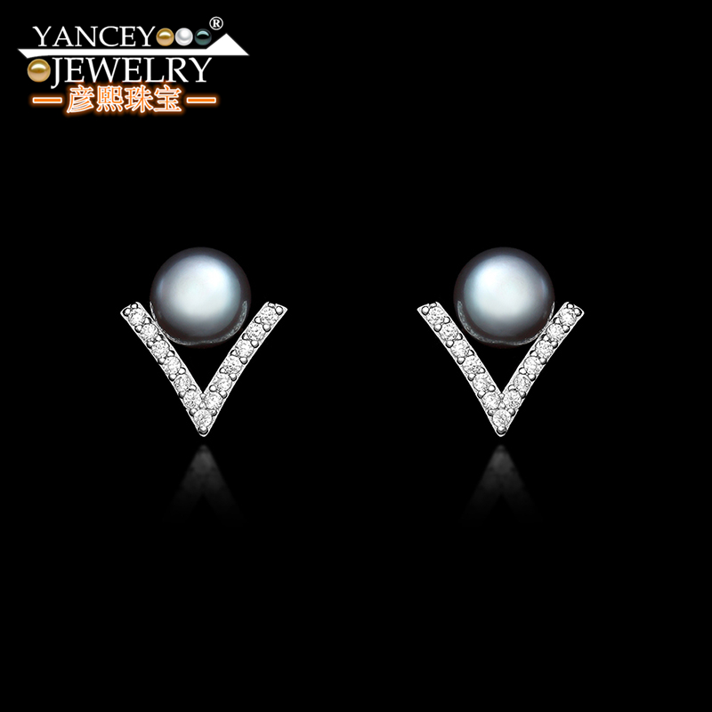 YANCEY Natural freshwater S925 sterling silver pearl stud earrings simple personality 2019 new tide earrings in Earrings from Jewelry Accessories