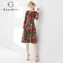 SEQINYY Knee Dress 2020 Spring Autumn Fashion Design Long Sleeve Applique Red Hydrangea Flower Crystal High Quality Print