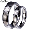 1 Pair 6mm & 4mm Silver Solid Tungsten Carbide Wedding Bands Anniversary Engagement Rings Set for Couples Men and Women
