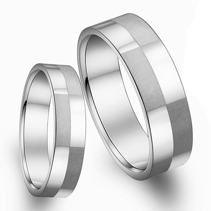 stainless titanium steel jewelry his and hers wedding ring set cheap engagement promising for couple lovers - Affordable Wedding Rings Sets