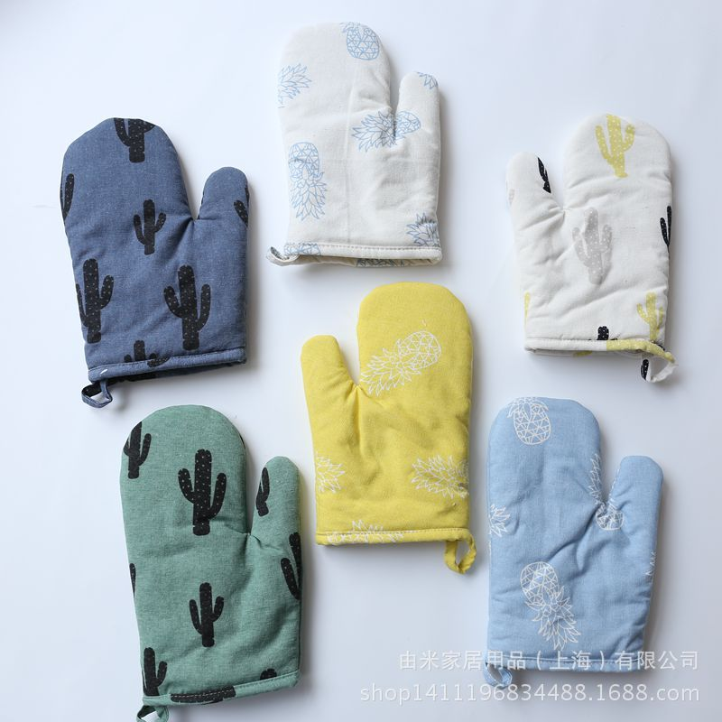 1Pc Non slip Cotton Oven Glove Heat Resistant Microwave Oven Glove Insulated Baking Gloves Kitchen Tool Mitten Thickening in Oven Mitts Oven Sleeves from Home Garden