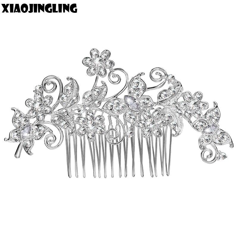 XIAOJINGLING Sparking Crystal Wedding Hair Accessories Fashion Hair Combs Bridesmaids Tiara Trendy Hair Clip For Women Headwear