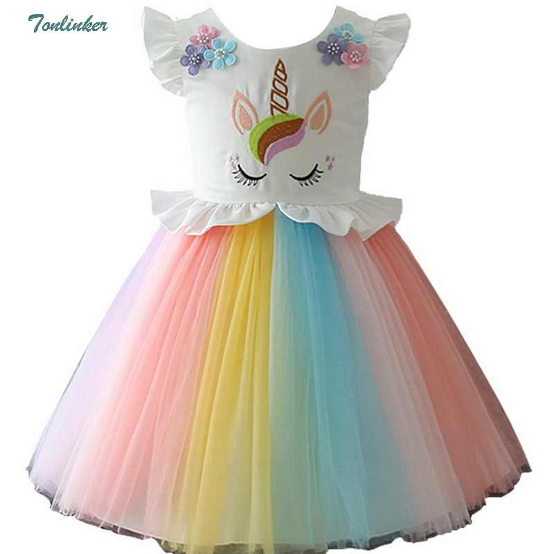 a820f6861b661 ... Girls Unicorn Costume Dress Princess Flowers Rainbow Dresses up Child  Cosplay Wedding Party Tutu Sleeveless Fancy ...