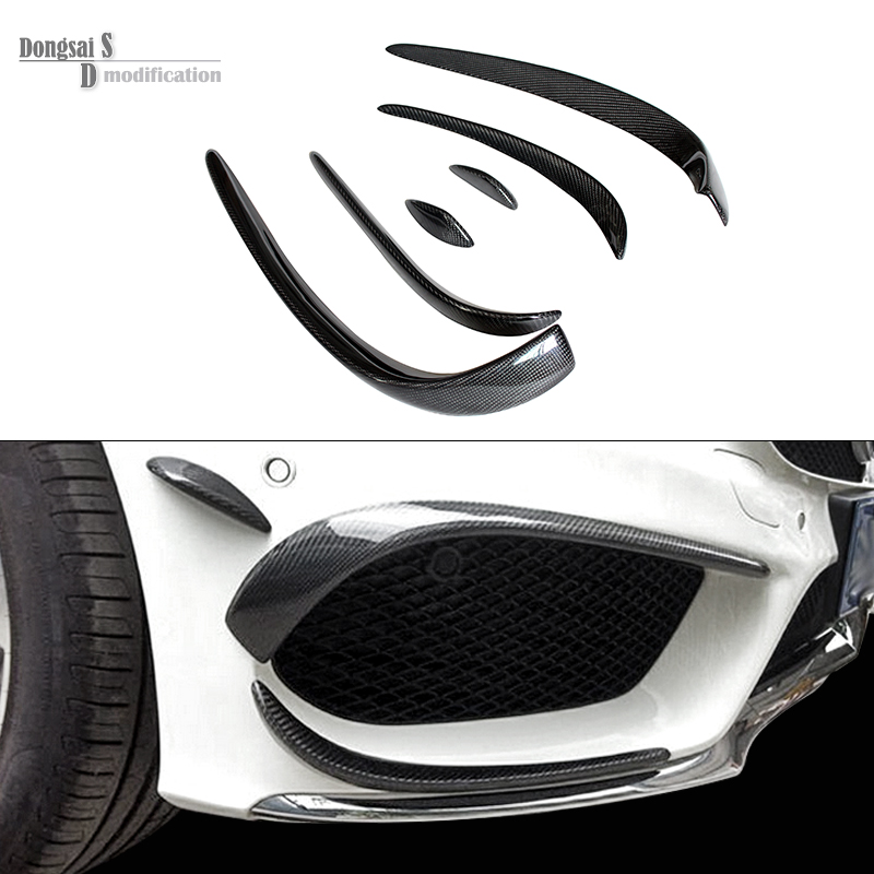 Mercedes W205 Carbon Fiber Bumper Canards For Benz C Class W205 With AMG Package C63 AMG 2015 + C180 C200 C250 Splitter Canards mercedes w176 carbon fiber rear bumper canards for benz a class a45 amg package 2012 rear air dam trimming