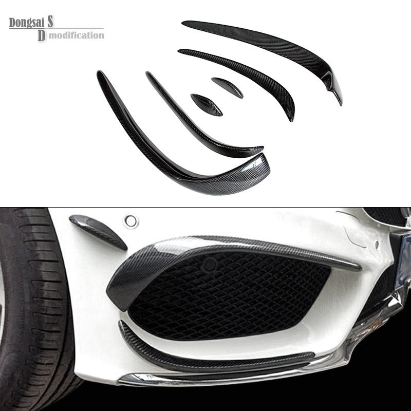 Mercedes W205 De Pare-chocs De Fiber De Carbone Canards Pour Benz Classe C W205 Avec L'ensemble AMG C63 AMG 2015 + C180 C200 c250 Séparateur Canards