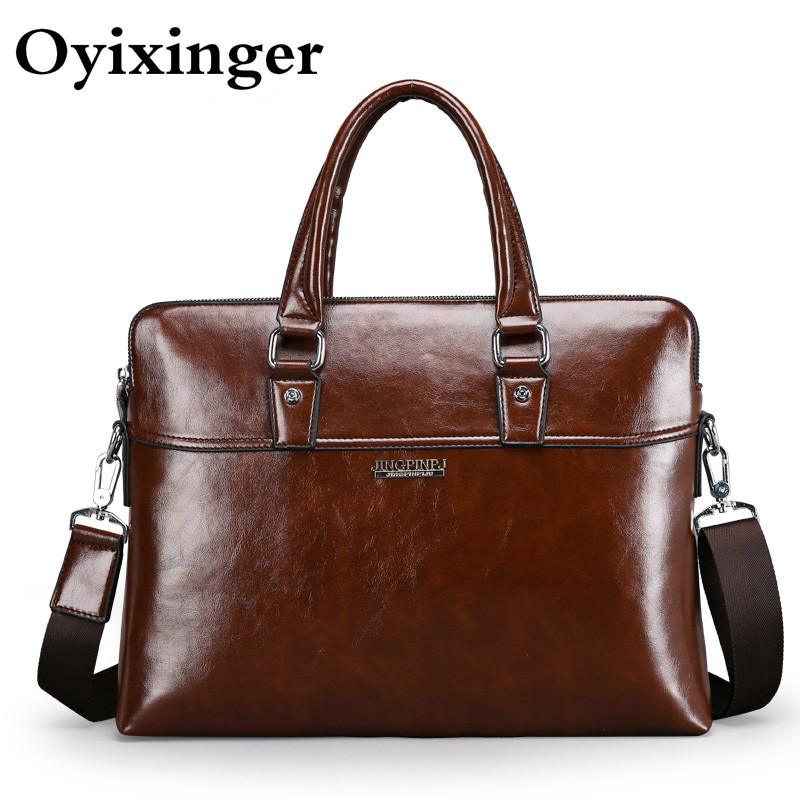 Men Leather Briefcase Brown Business Laptop Bag Men's Crossbody Shoulder Bag Male Messenger Travel Bags Casual Office Work Bag