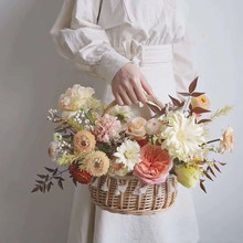 Handmade Rattan Woven Flower Basket Vegetable Fruit Cosmetic Picnic Basket Children's Toys Sundries Storage Bag Laundry Basket