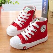 Enfants Nouvelle Haute-top Casual Toile Chaussures Solide Couleur Blanc Chaussures Pour Garçons Filles En Plein Air Enfants Wear Fashion Sneakers Size24-37