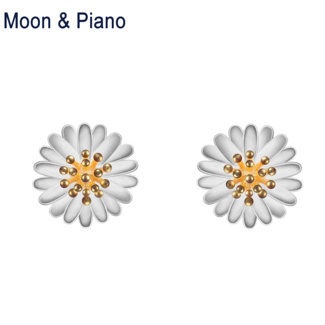 1b6ab3d24 925 sterling silver Daisy Stud Earrings party fine jewelry white daisy cute  flower romantic earrings Women's Christmas gift