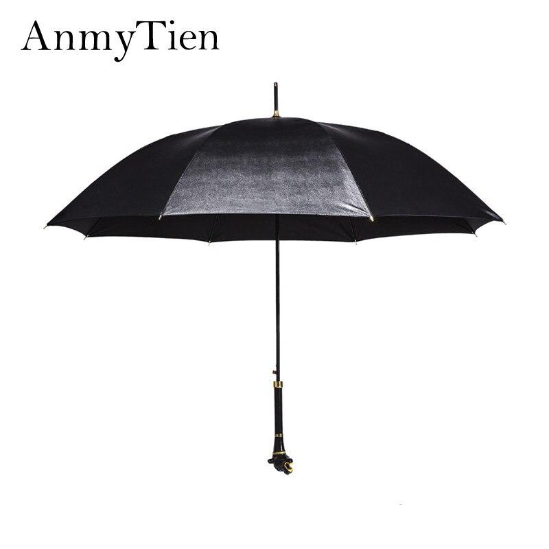 Noir Léopard Personnaliser Long Manche Élégant Parapluie Étanche Hommes Pluie Guarda Chuva Forte Coupe-Vent Mâle Parapluie vêtements de Pluie