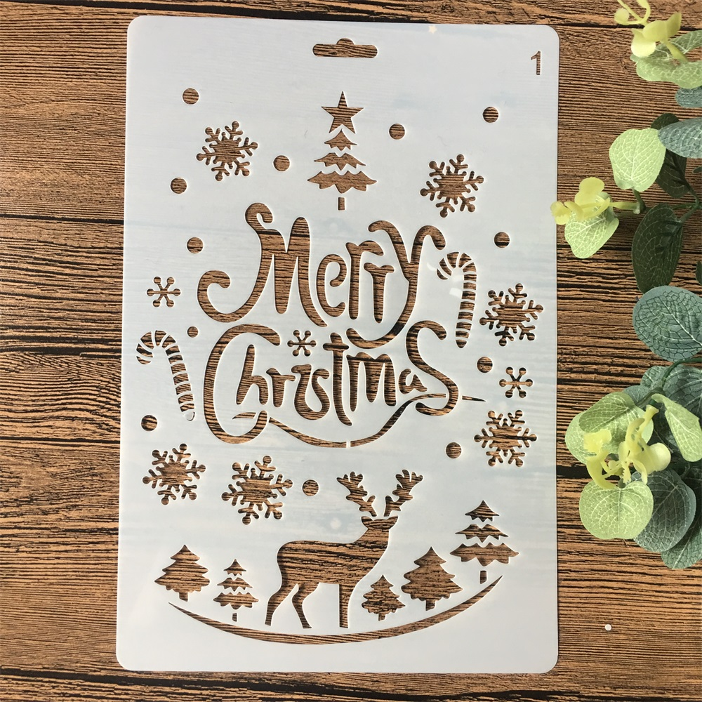 26cm Merry Christmas Deer DIY Craft Layering Stencils Wall Painting Scrapbooking Stamping Embossing Album Card Template