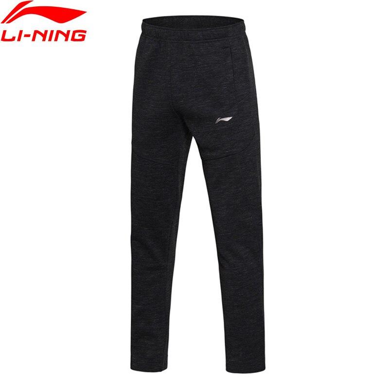 Li-Ning мужские тренировочные брюки для тренировок, обычные теплые спортивные брюки с подкладкой из 100% хлопка, AKLM655 MKY338