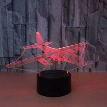 Воздушный самолет 3D свет настольная лампа оптическая настольная лампа ночник 7 цветов Изменение дня рождения настроения лампа